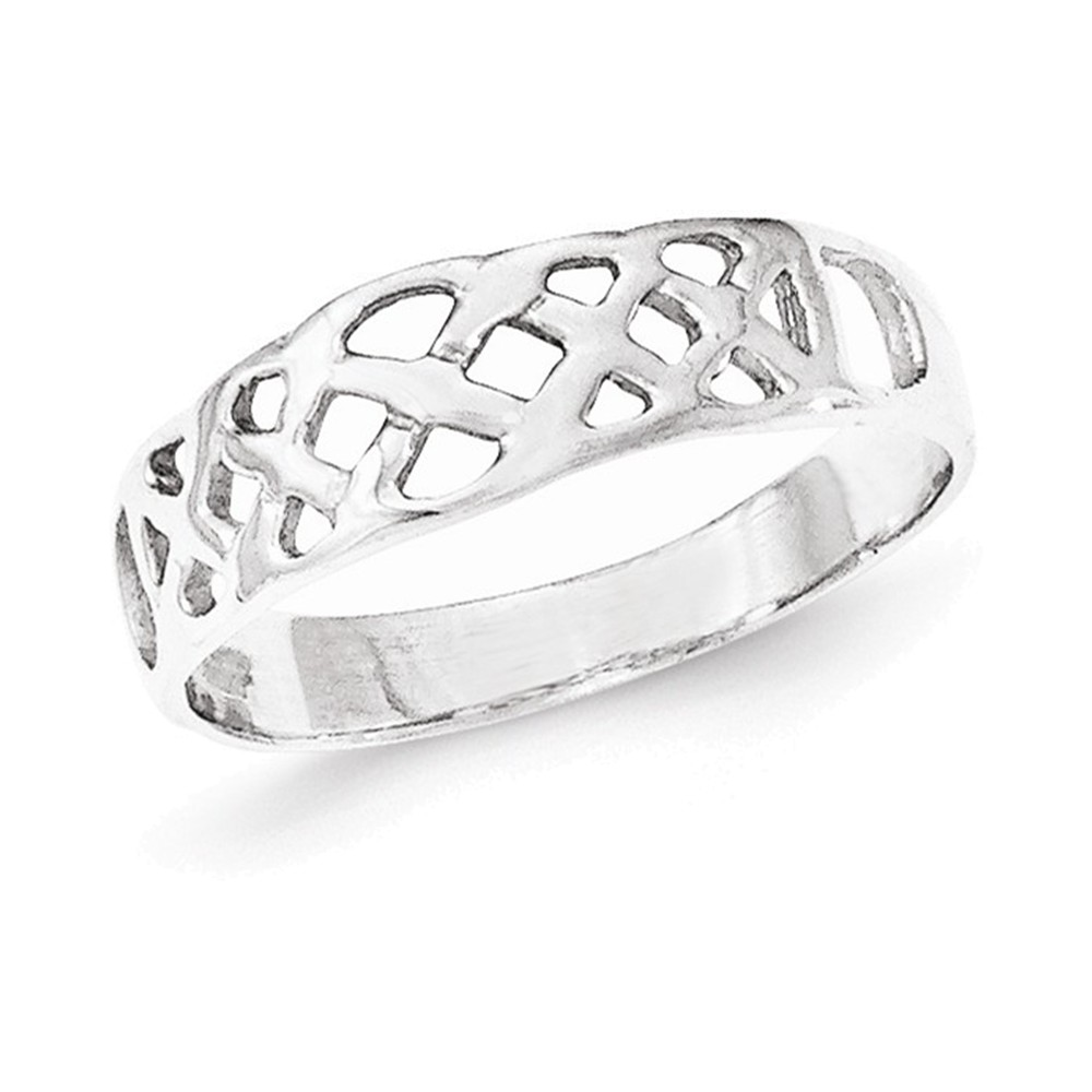 Sterling Silver Rhodium-plated Polished Fancy Ring Size 6