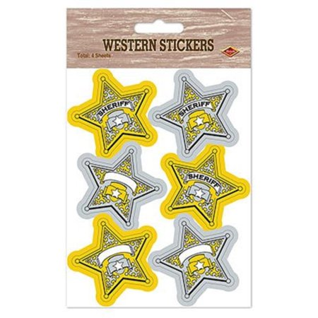 Club Pack of 48 Sheriff Badge Stickers Novelty Western Party Favors