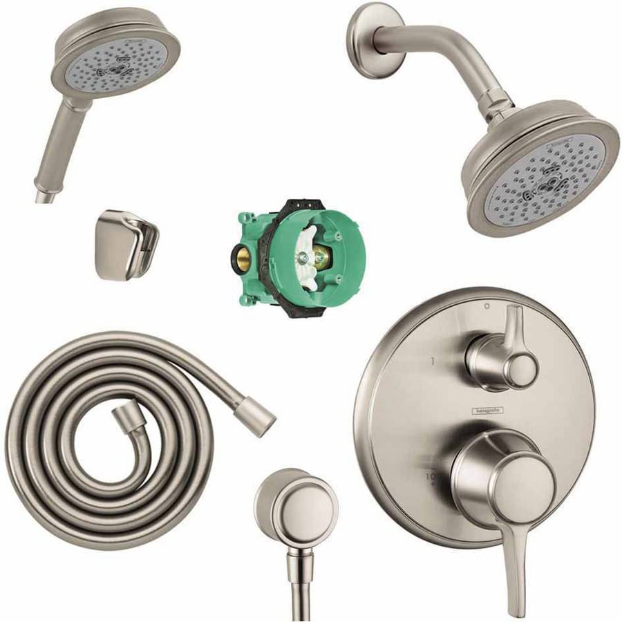 Hansgrohe KSH15753-04070-72RB Croma C 100 Showerhead Kit with Handshower Thermostatic Trim with Diverter and Rough-In, Various Colors