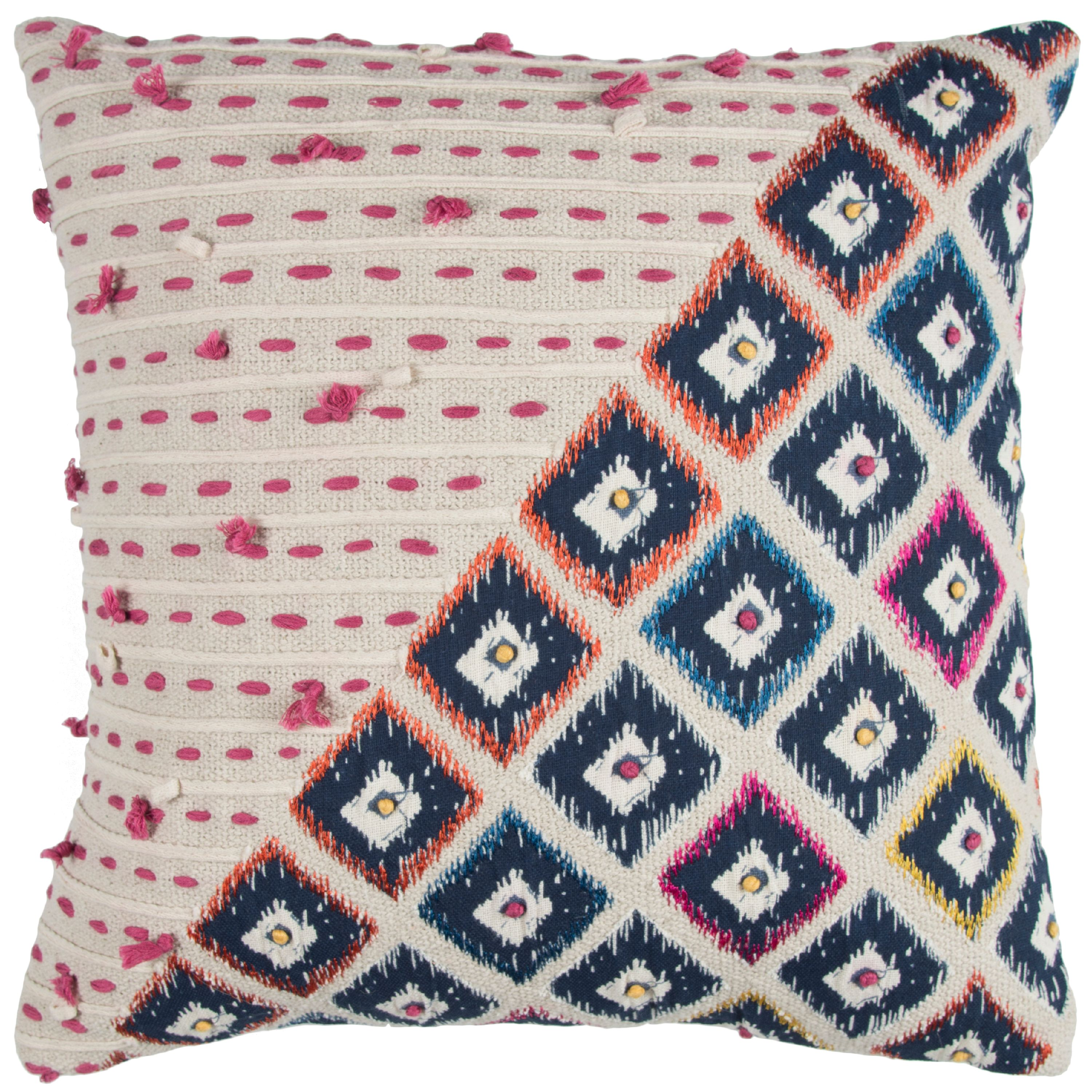 "Rizzy Home Decorative Poly Filled Throw Pillow Geometric 20""X20"" Pink"