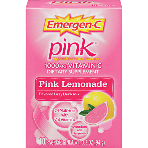 Emergen-C Pink Health & Energy Booster Vitamin C 1000mg Pink Lemonade Flavored Dietary Supplement, 10ct