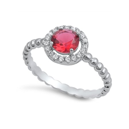 Round Cut Simulated Ruby Cubic Zirconia Solitaire Ring Sterling Silver 925