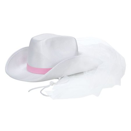 Bachelorette Cowboy Hat With Veil - Chinese Hat With Pigtail