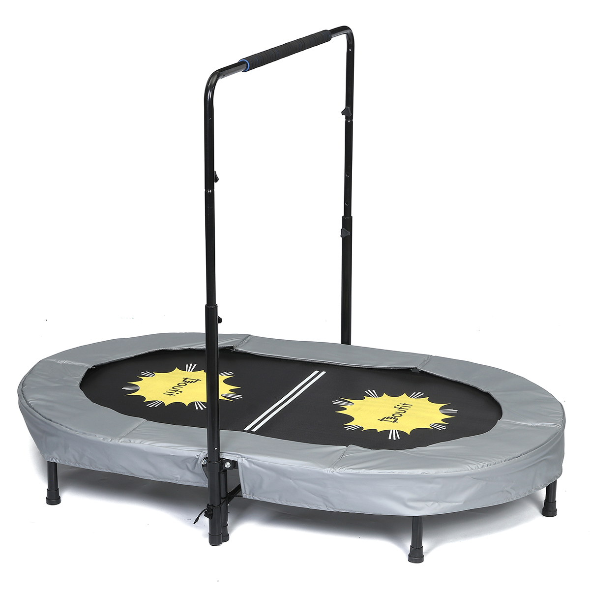 TR-01 Double Jumping Fitness Rebounder Foldable Trampoline for Indoor and Outdoor Exercise with Additional Spring Cover Doufit Trampoline for Kids with Adjustable Handle