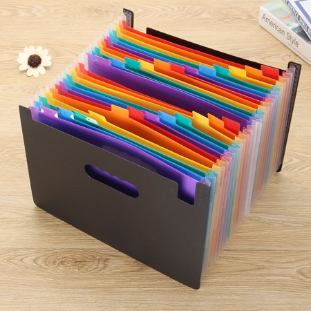 Storage Bag - 24 Pockets Caveen Expanding File Folder Organiser Portable Plastic A4 Documents Paperwork Accordion Multicolor Business Document Folder Storage Bag - 24 Pockets