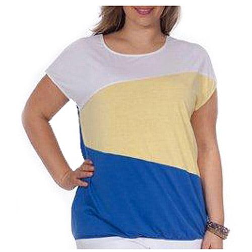 Plus Moda Women's Plus-Size Oversized Colorblock Top