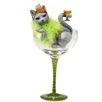 Pavilion- Green Margarita Glass with Gray Cat by Margarita Glasses