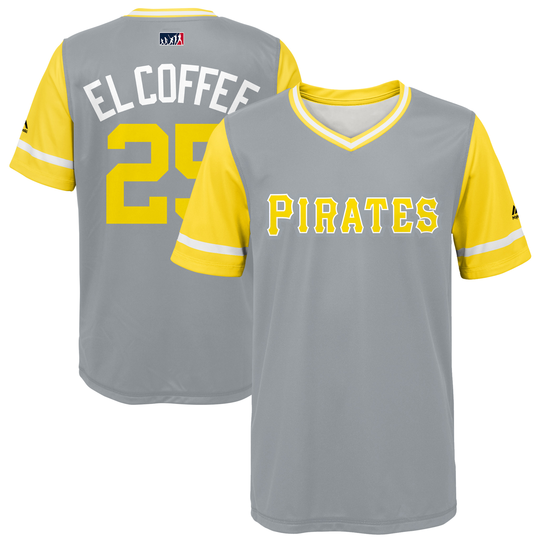 """Gregory Polanco """"El Coffee"""" Pittsburgh Pirates Majestic Youth 2018 Players' Weekend Jersey - Gray/Yellow"""