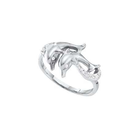 (Size 7 - 10k White Gold Round Diamond Double Dolphin Accent Ring 1/20 Cttw)