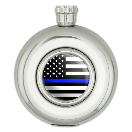 Thin Blue Line American Flag Round Stainless Steel 5oz Hip Drink