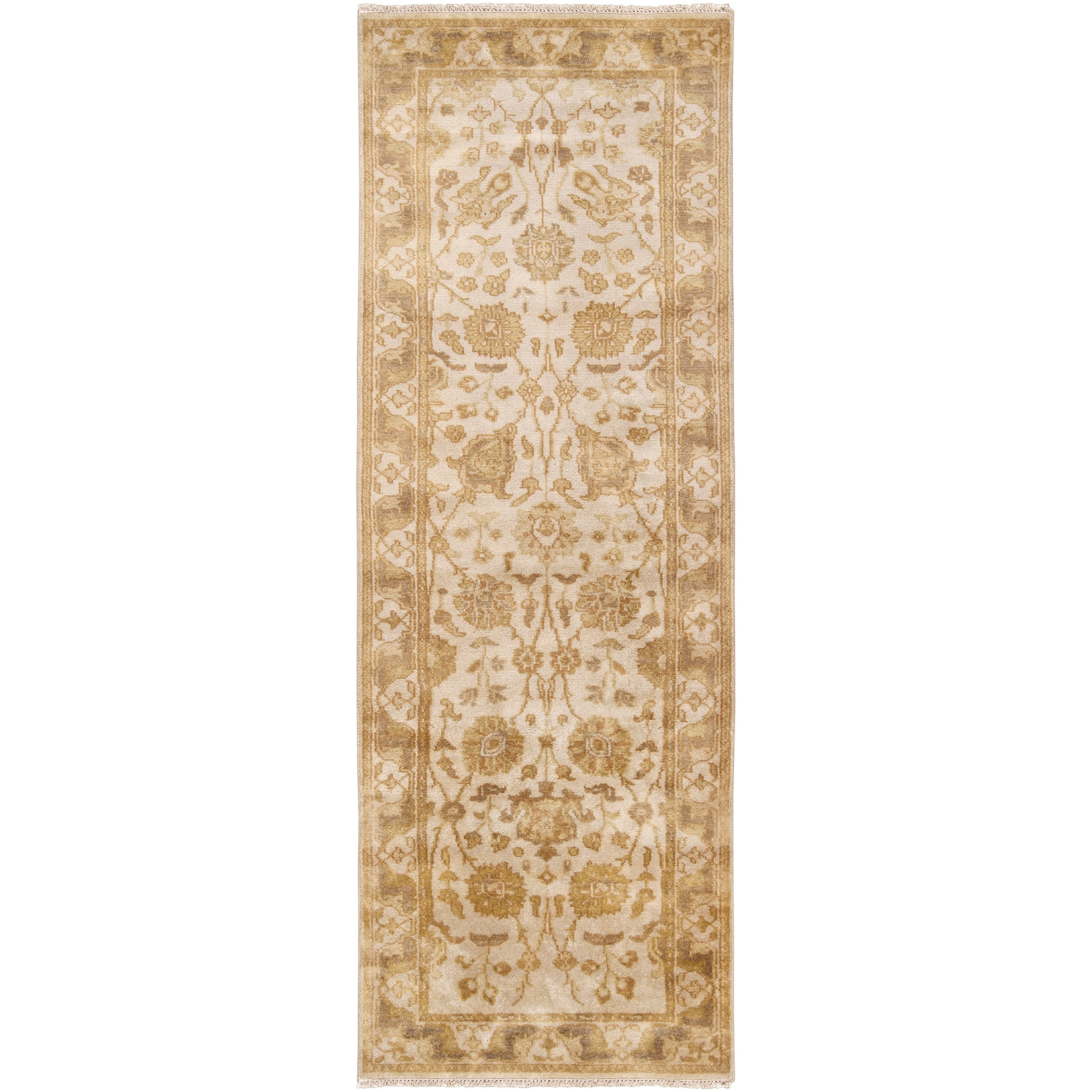 Hand-knotted Taupe Banneker Semi-Worsted New Zealand Wool Rug (2'6 x 8')