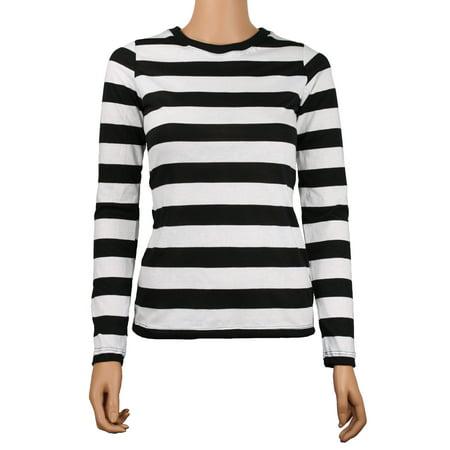 Long Sleeve Black White Striped Women's Shirt XXL](Xxl Suits)