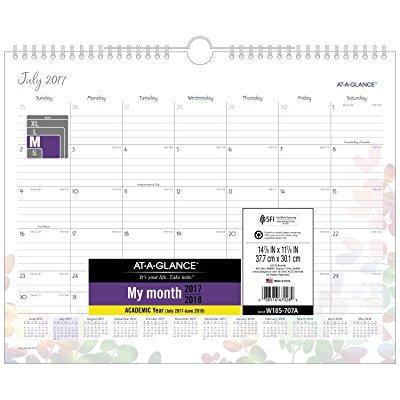 At A Glance Academic Wall Calendar  July 2017   June 2018  14 7 8 X 11 7 8  Aura Blooms  Silver  W185 707A
