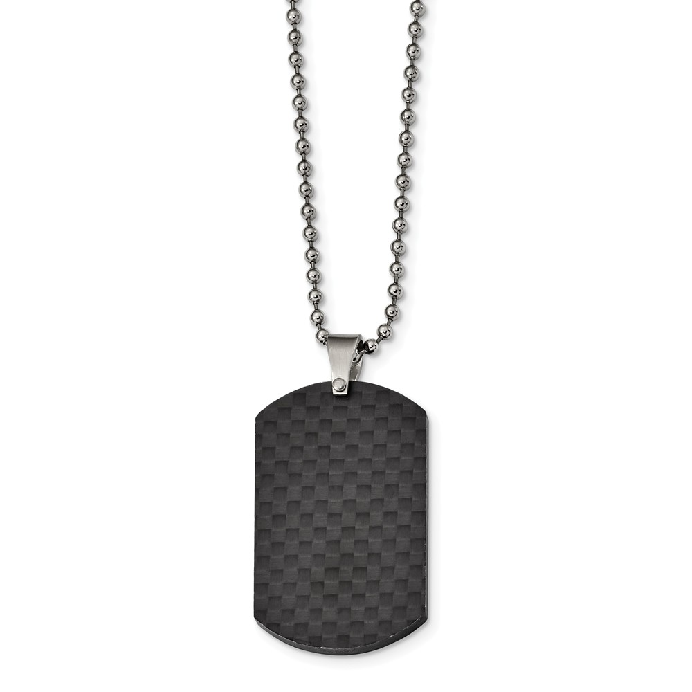 Bonyak Jewelry Stainless Steel Brushed /& Polished 1.85mm Reversible Dog Tag Necklace in Stainless Steel
