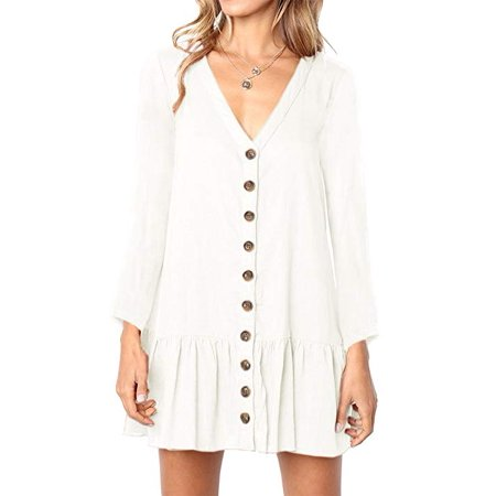 ee6e9022 Vista - Womens V Neck Button Down Shirt Dresses Long Sleeve Ruffles Midi  Skater Dress with Pockets - Walmart.com