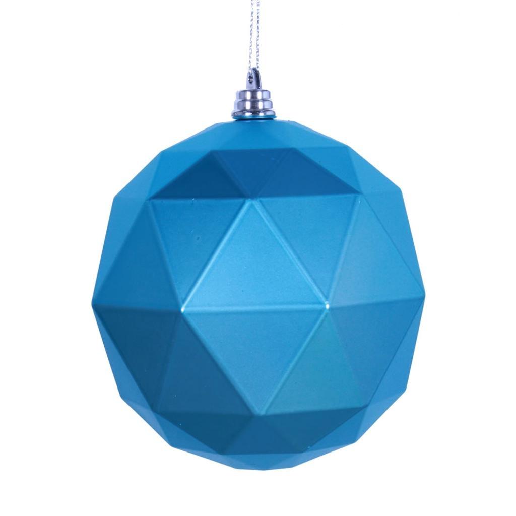 "Vickerman 466940 - 4.75"" Turquoise Matte Geometric Ball Christmas Tree Ornament (4 pack) (M177312DM)"