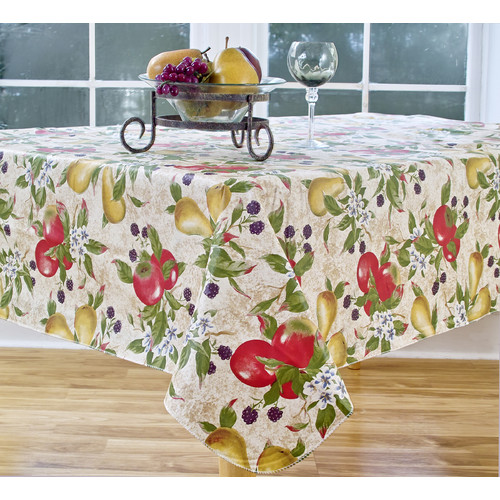 Elrene Home Fashions Everyday Fruits 84u0027u0027 Oval Vinyl Tablecloth