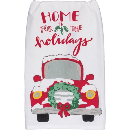 Home For the Holiday Red Pickup Truck With Wreath Christmas Kitchen Dish Towel ()