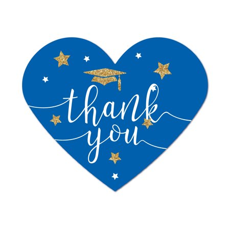 Royal Blue and Gold Glittering Graduation, Heart Label Stickers, Thank You!, - Gold And Royal Blue