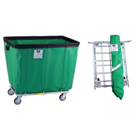 R&B Wire Products 420KDC-FG 20 Bushel UPS & FEDEX ABLE Vinyl Basket Truck All Swivel Casters, forest Green - 49 x 33.5 x 39.25 in.