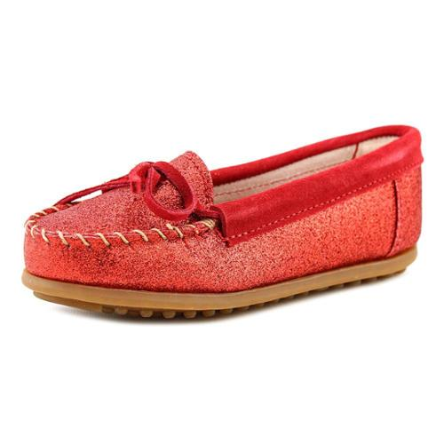 Minnetonka Glitter Moccasin Youth US 4 Red Loafer