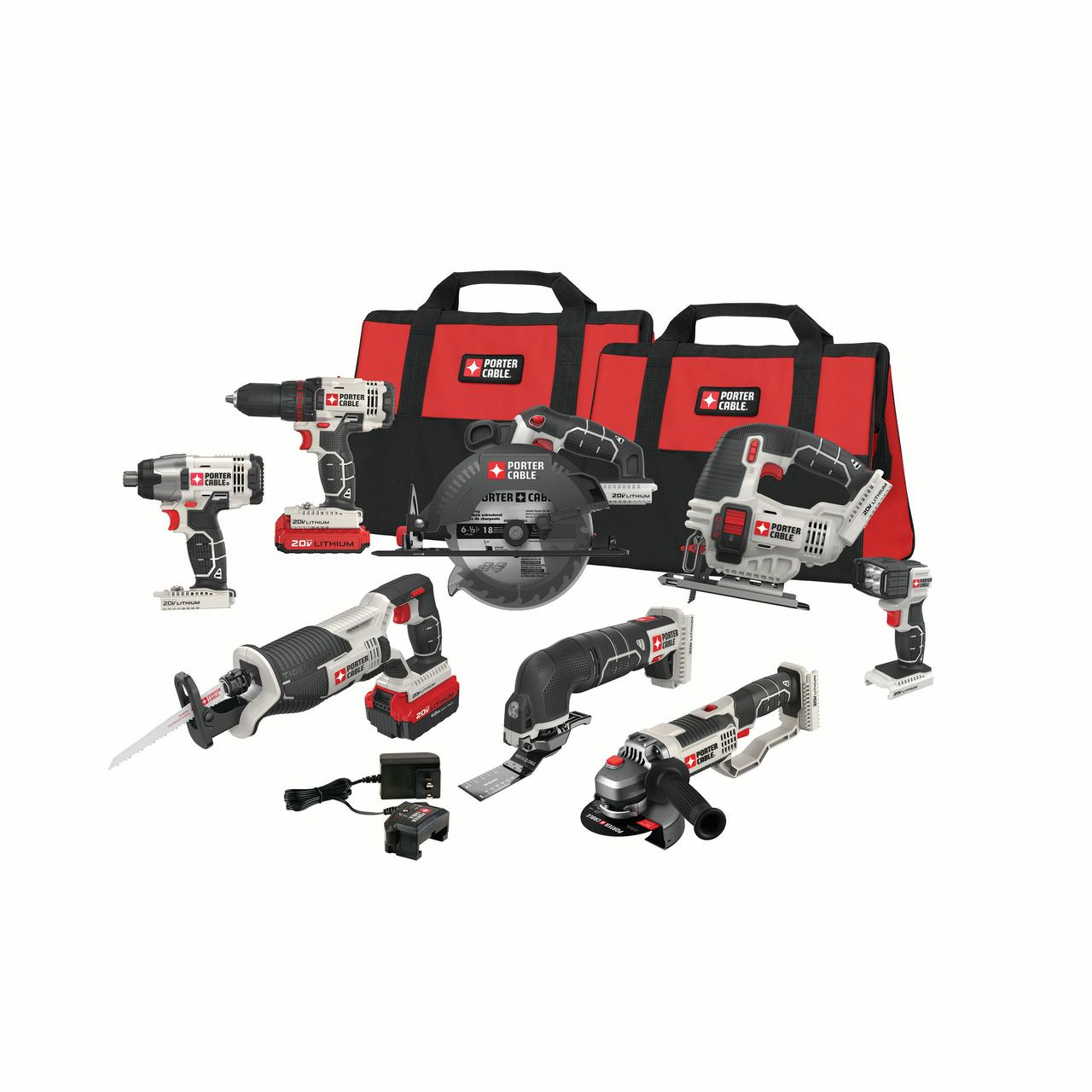 PORTER CABLE 20-Volt Max Lithium-Ion 8 Tool Combo Kit, PCCK619L8