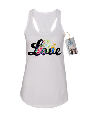 ea5ec4bbfb142b Product Image Love Saying Floral Spring Summer Womens Racerback Tank Top