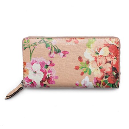 Gucci Shanghai St Beige Blooms Apricot Leather Continental Wallet Italy -