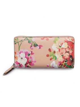 cbf1c60ab8afe5 Product Image Gucci Shanghai St Beige Blooms Apricot Leather Continental  Wallet Italy New