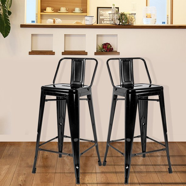 Clearance Modern Barstool Set Of 2 Rustic Farmhouse Metal Bistro Chair With Metal Legs 16 5 X 16 5 X 32 5 Bar Chair For Kitchens Cafe Conversation Patio 264 5lbs Traffic Black S9764 Walmart Com