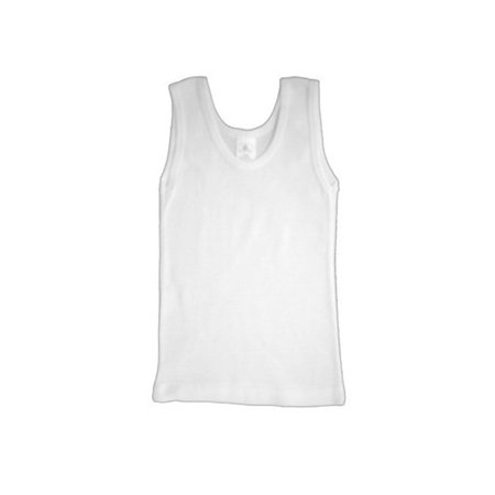 Bambini Baby White Rib Knit Sleeveless Tank Top Shirt ()