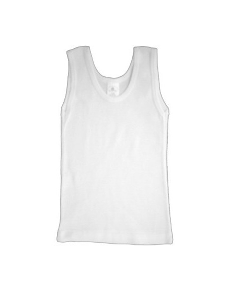 Bambini Baby White Rib Knit Sleeveless Tank Top Shirt