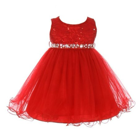 Baby Girls Red Sequin Stone Lace Tulle Sleeveless Occasion