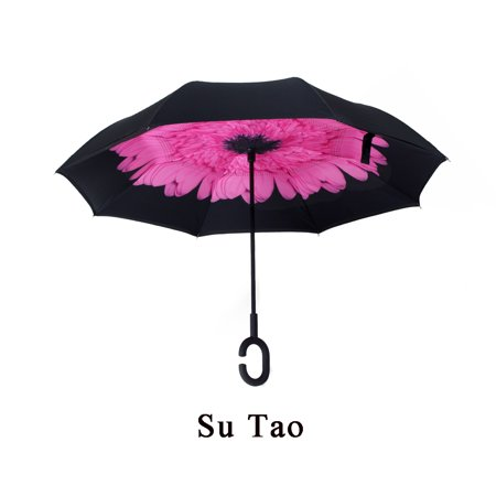 Grtxinshu 10 Patterns Creative Hand Free Double Layer Umbrella Upside Down Inverted Folding C-Handle Umbrella Waterproof Anti-UV (Creative Umbrella)