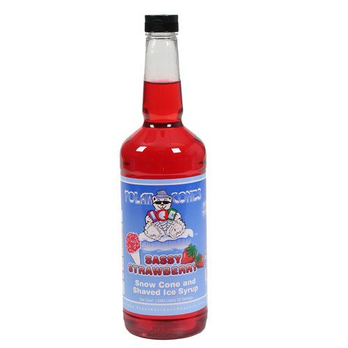 Sassy Strawberry Snow Cone & Shaved Ice Syrup -Quart Great Northern Popcorn