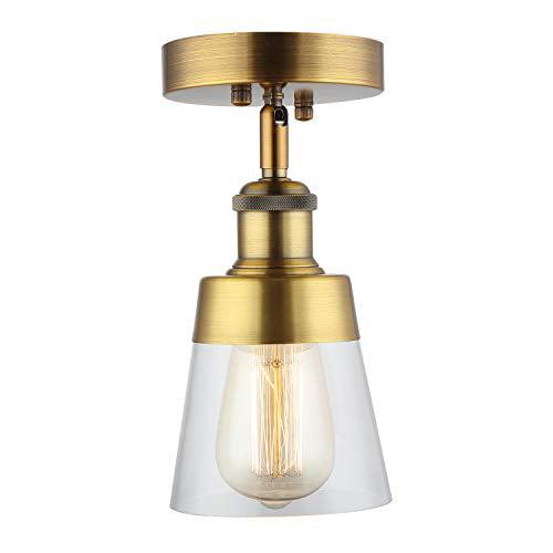 Fivess Lighting Antique Gold Flush, Bathroom Flush Mount Light