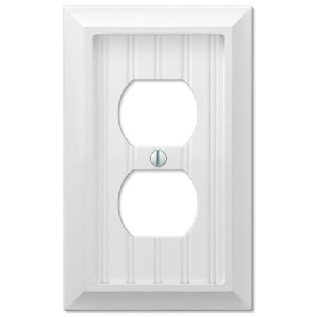 Baldwin Duplex Switchplate - Cottage White Wood Single Duplex Outlet Wall Switch Plate Cover