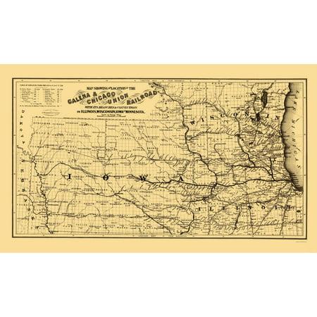 Old Railroad Map   Galena And Chicago Union Railroad   Colton 1862   23 X 38 52