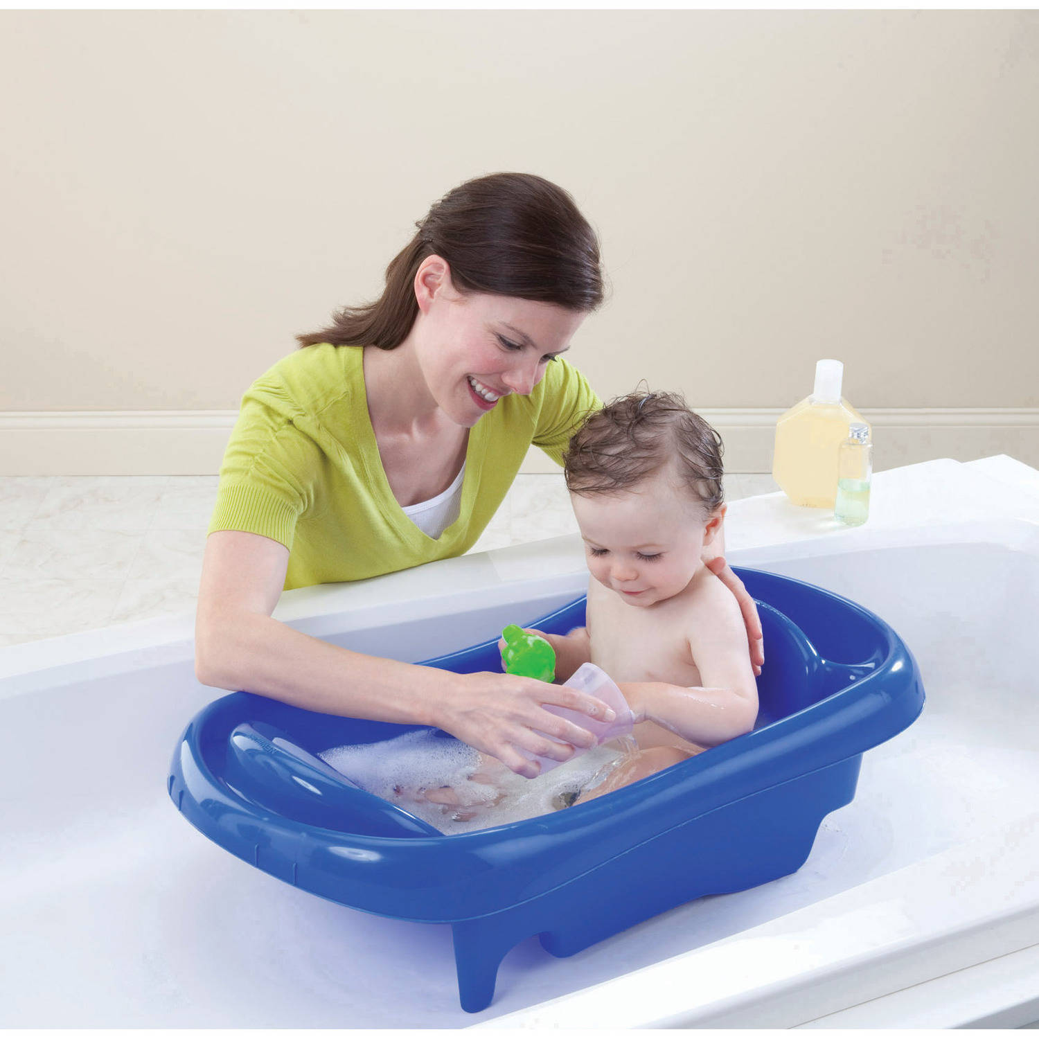 Baby bath chairs for the tub - The First Years Sure Comfort Deluxe Newborn To Toddler Tub With Sling Blue Walmart Com