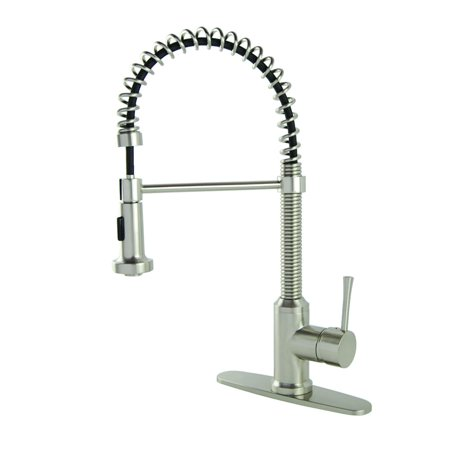 Fontaine Kitchen (Fontaine S-Series Residential Spring Coil Brushed Nickel Kitchen Faucet with Deckplate )