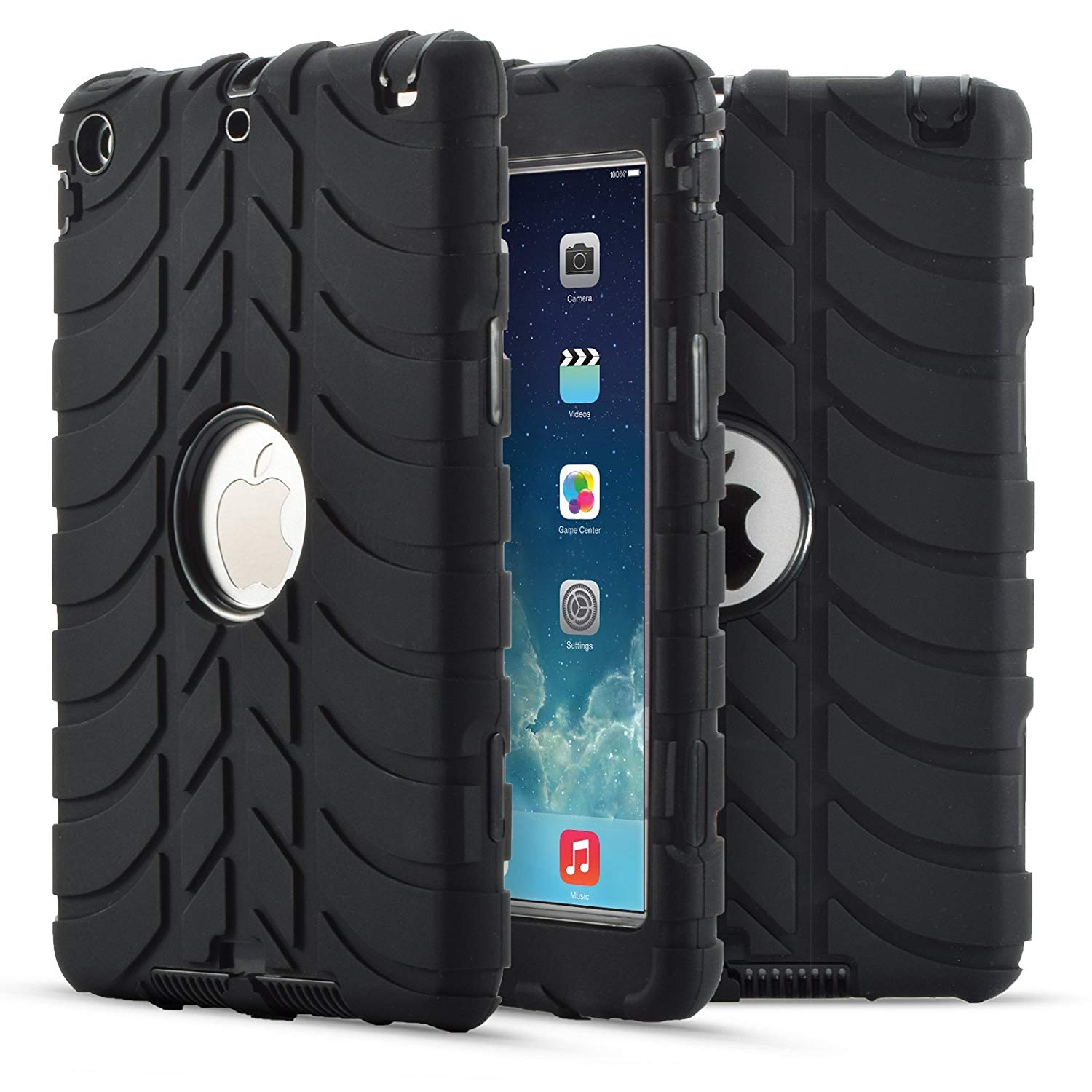 """iPad Air/ iPad 9.7 2017 2018 Case, Goodest Full-body 3 IN 1 Protective Heavy Duty Rugged Shockproof Drop Resistance Anti-slip Cover For Apple iPad Air 9.7"""" Tablet iPad 5th/6th Generation, Black"""