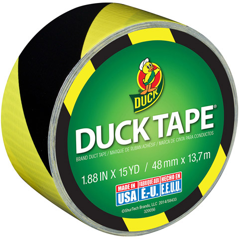 Duck Tape Black and Yellow Striped Duct Tape. 1.88 in wide 15-yd roll