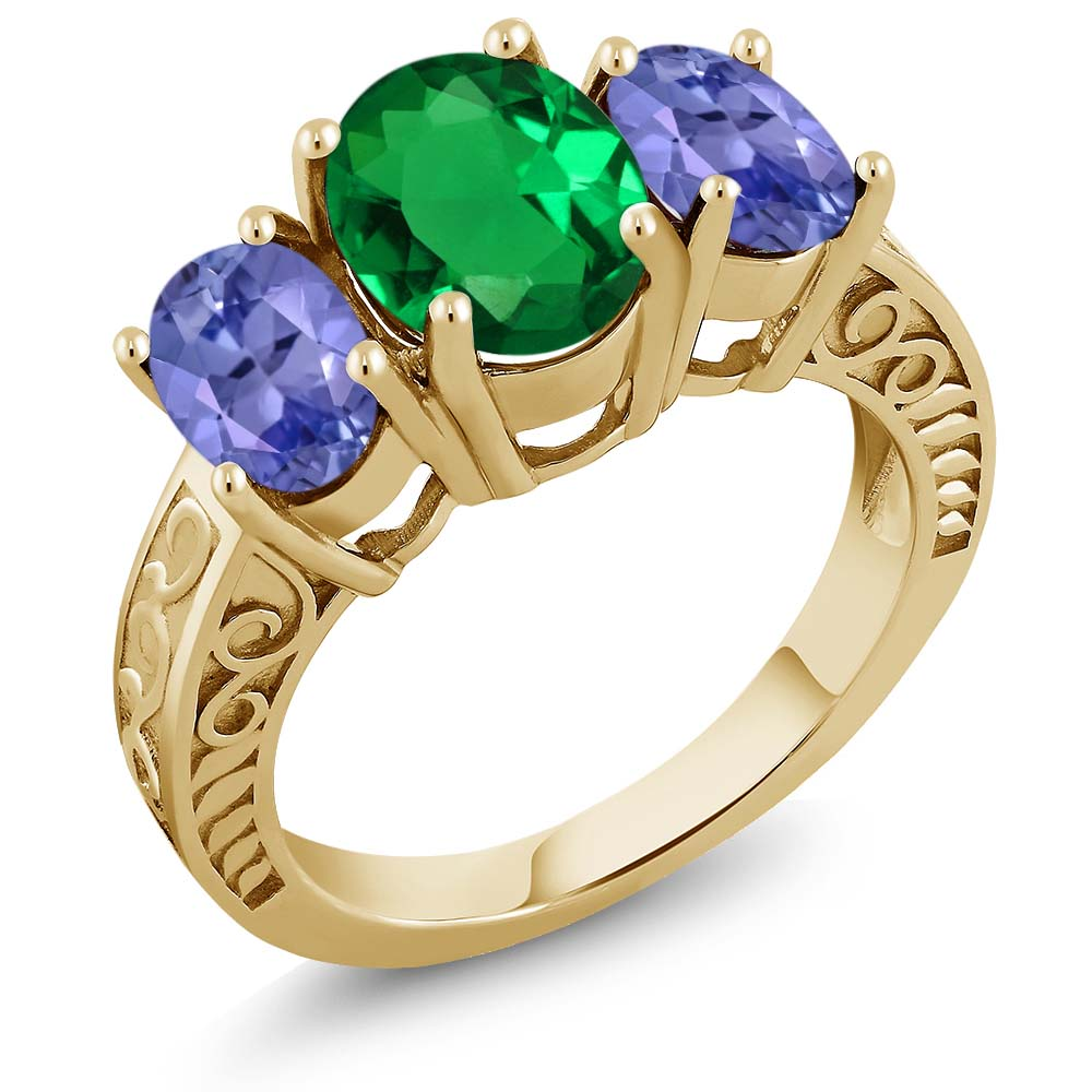 3.00 Ct Green Simulated Emerald Blue Tanzanite 18K Yellow Gold Plated Silver Ring by