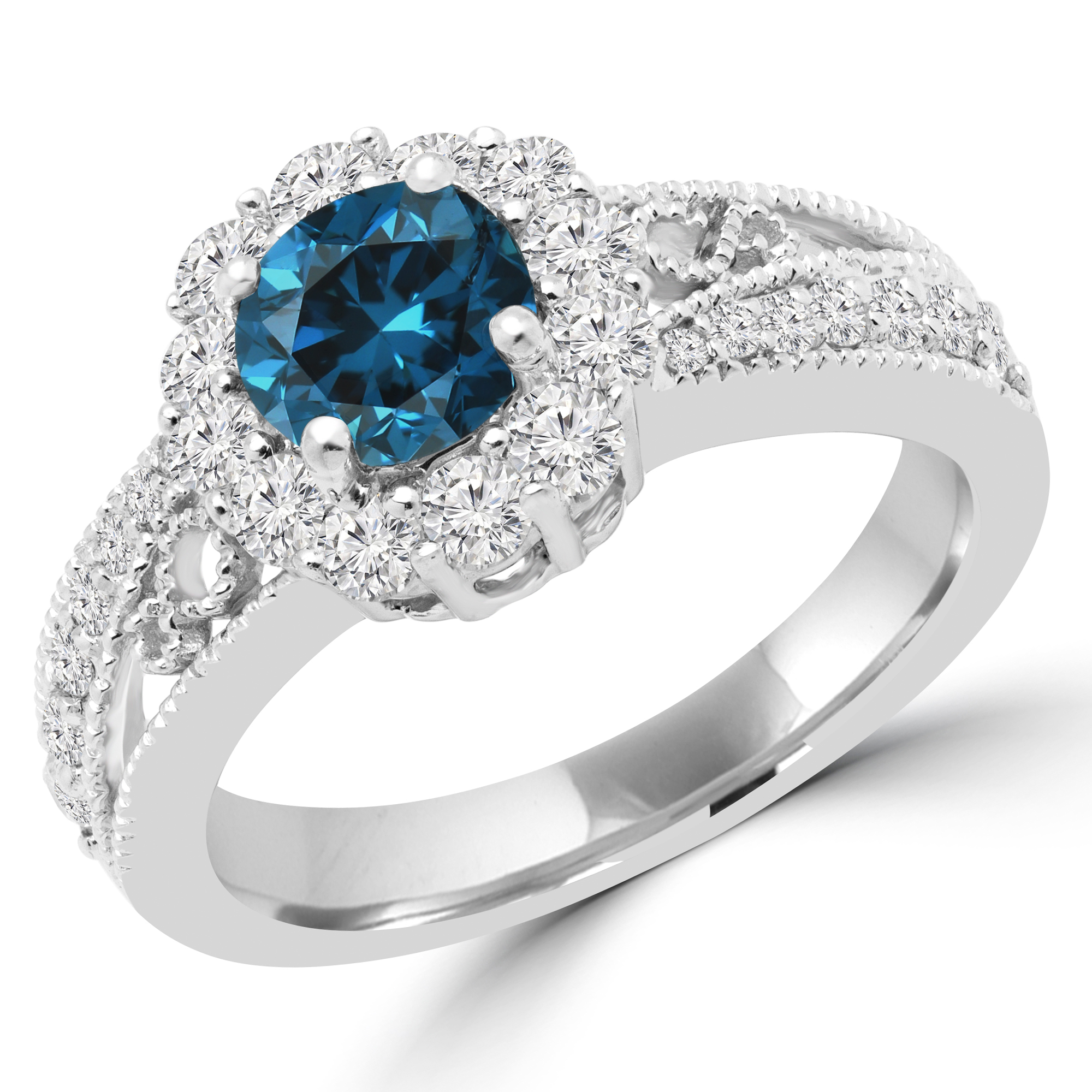 1 1/5 CTW Princess Blue Diamond Halo Engagement Ring in 14K White Gold (MD180127) - image 2 of 2