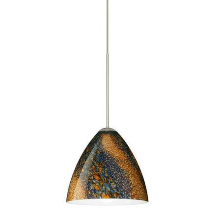 Besa Lighting 1XT-1779CE Mia 1-Light Halogen Cord-Hung Mini Pendant with Ceylon Glass Shade