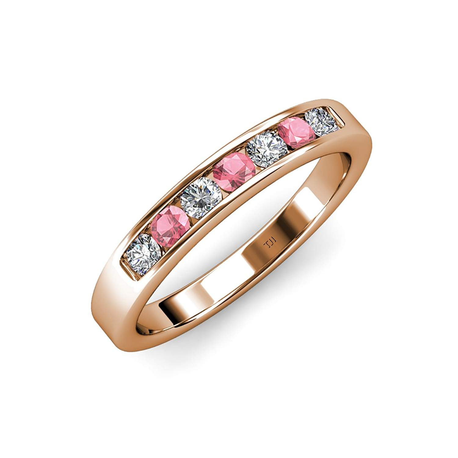 Pink Tourmaline and Diamond�7 Stone Channel Set Wedding Band 0.71 ct tw in 14K Rose Gold.size 7.5 by TriJewels