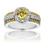Luxurman  14k Gold 1 5/8ct TDW White and Yellow Diamond Halo Engagement Ring