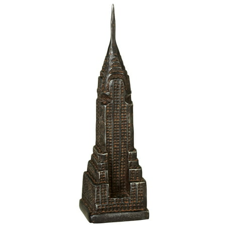 "13.75"" Black Distressed Cast Iron Empire State Building Door Stopper"