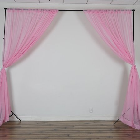BalsaCircle 10 feet x 10 feet Sheer Voile Backdrop Drapes Curtains 2 Panels 5x10 ft - Wedding Ceremony Party Home Decorations (Snow White Birthday Decorations)