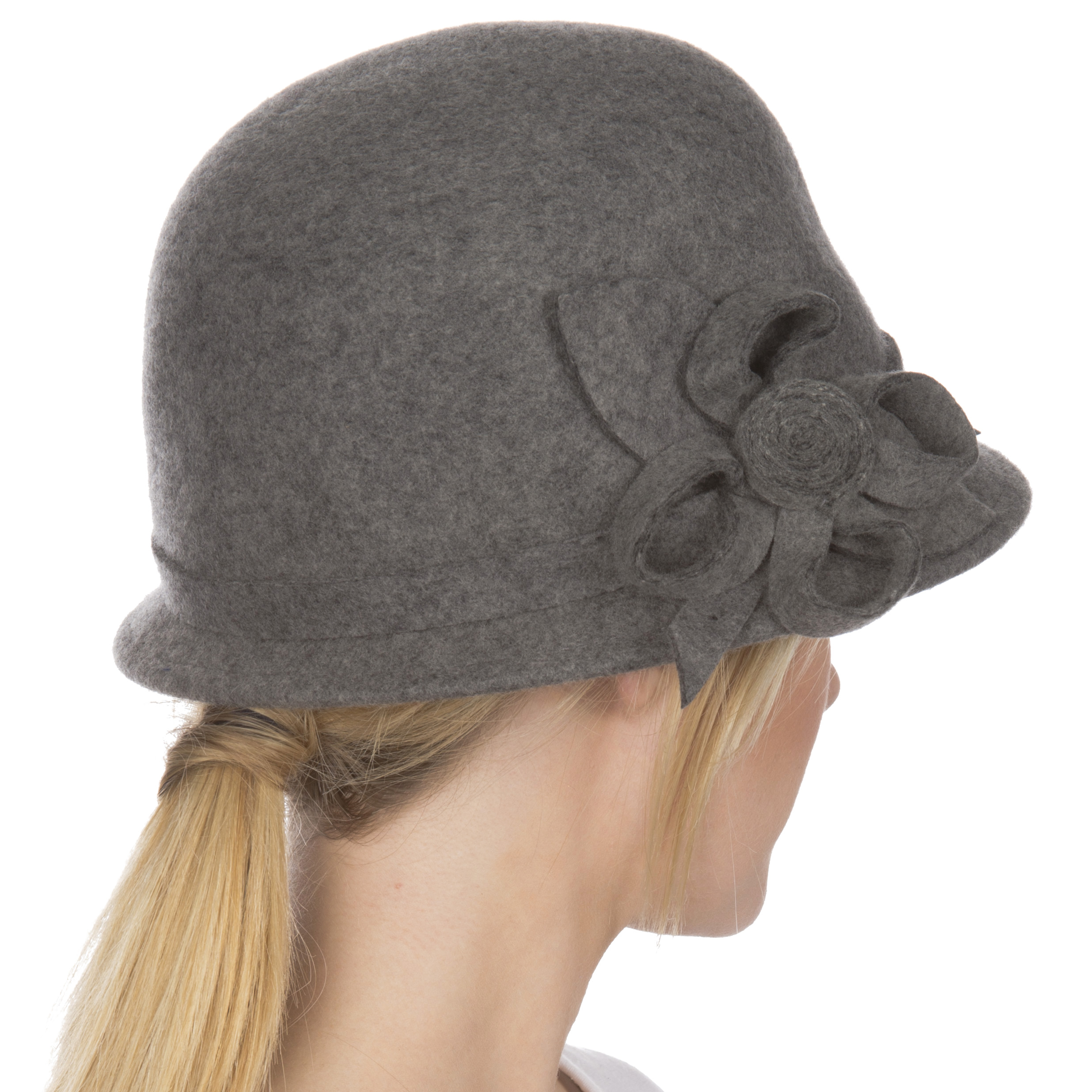 ea05ab33e Womens Bernadette Vintage Style 100% Wool Cloche Bucket Winter Hat with  Flower Accent - Charcoal/One Size